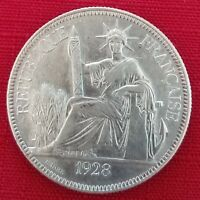 1928A French Indo-China Piastre - XF - Silver