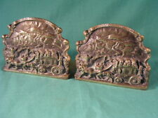 Pair of Antique Solid Brass Book Ends by Peerage - Ye Olde Coaching Days c1925