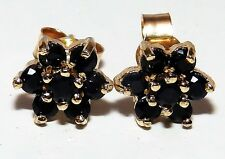 9CT YELLOW GOLD SAPPHIRE  FLOWER FORAL  STUD EARRINGS BUTTERFLY BACKS