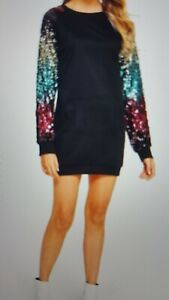 W'omens top size L black with seguence sleeve pink gold new no tag funky design