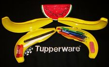 Tupperware 2 YELLOW Banana Shape Fruit Locker Packable Lunchbox Snack Keeper