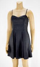 NEW Abercrombie & Fitch Black faux Vegan Leather Cami A Line Dress Sz M