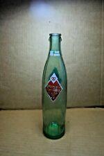 ROYAL CROWN RC OLDER SODA POP BOTTLE, ONE PINT GREEN TINT RIBBED GLASS DIAMOND