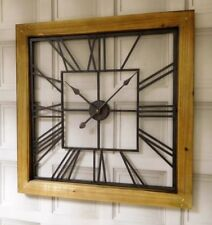 Extra Large Square Vintage Industrial Wood Decorative Wall Art Skeleton Clock