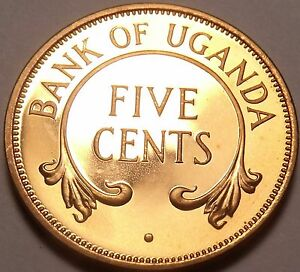 Rare Proof Uganda 1966 5 Cents~Only 8,250 Minted~Crossed Tusks