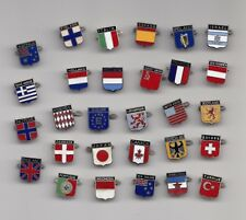 Vintage enamel FLAG brooches badges pins Country National
