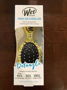"""Wet Brush Detangler Mini Brush Yellow Emoji Soft Tips Pocket Size Kids 5.5"""""""