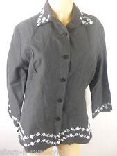 Ladies Black/Silver Embroidered Silk/Linen Suit Blazer Jacket UK 8 EU 36