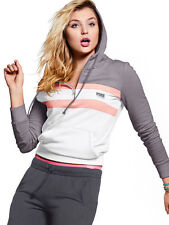 VICTORIAS SECRET PINK HALF ZIP PULLOVER  HOODIE GREY COLOR BLOCK SIZE L NIP