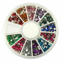 New Nail Art Square Rhinestones Glitters Acrylic Tips Decoration Manicure Wheel
