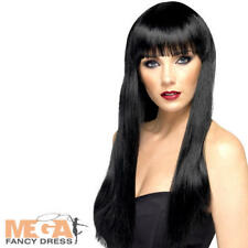 Long Black Straight Wig Ladies Fancy Dress Halloween Womens Costume Accessory