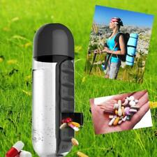 Water Bottle Pill Box Daily Organizer 600ml Case Vitamin 7 Combine Sport Outdoor