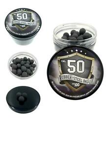 100x Hard Rubber Steel Balls Paintballs Reballs Powerballs Home Defense 50 Cal.