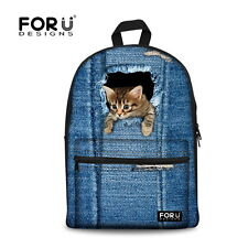 Children Girls School Bag Womens Canvas Backpack Fashion Blue Jeans Animal Print
