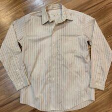 Pronto Uomo Mens Dress Shirt Beige Striped Non Iron Long Sleeve Work 15.5 34 35