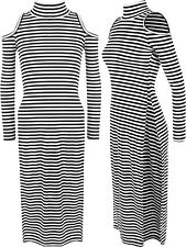 Polyester Long Sleeve Striped Regular Size Dresses for Women