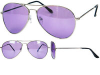 New Purple Lens And Tint Aviator Sunglasses Silver Frame Retro BNWT