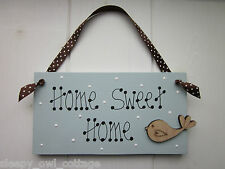 CHIC HOME SWEET HOME BIRD SHABBY SIGN PLAQUE painted in Duck Egg Paint