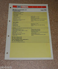 Inspektionsblatt Yamaha RD 80 LC Typ 10X Baujahr 1982