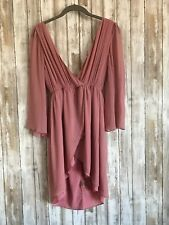 Alice + Olivia Dusty Pink Silk Deep V Neck Zipper Wrap Dress S Small USED READ*