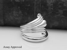 PRETTY VICTORIAN ANTIQUE SOLID STERLING SILVER SPOON RING  -  SIZES  T U V