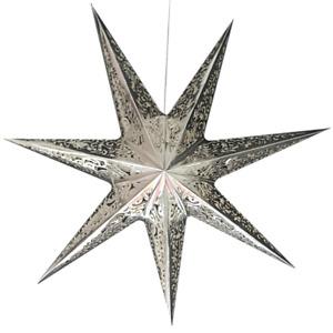 Hängelampe Stern Silber 75 cm Weihnachtsbeleuchtung Christstern Hängeleuchte