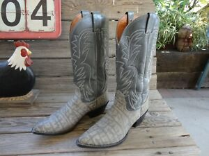 Tall Vintage Nocona Gray Exotic Leather WESTERN Cowboy Boots - US Size 9 B Mens