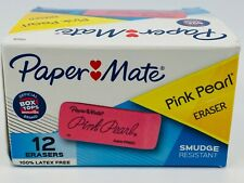 Papermate Pink Pearl Block Eraser Large Size Box Of 12 Smudge Resistant