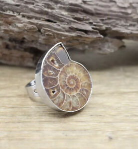 AMONITE FOSSIL RING SILVER 925 MOUNTED