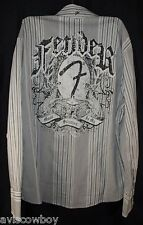 Fender Guitar Western Rockabilly Music Is My Salvation White Long Sleeve Men's L