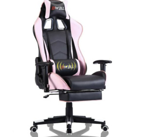 Gaming Chair with Massage Backrest, Headrest & Pullout Footrest