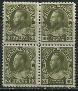 Canada 1925 KGV 20 cents olive green Admiral block of 4 mint o.g., bottom 2 NH