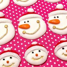 SNOWMAN SNOWBABIES Christmas Decoration Edible Icing Sugar cake Cupcake topper
