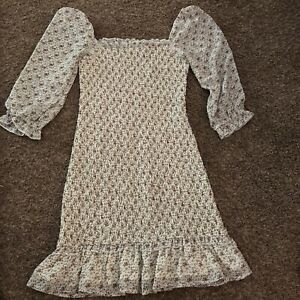 Urban Outfitters Dress Forum White Floral Smocked Dress Women's Size Small