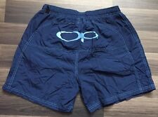 Ocean Pacific Blue Swim Shorts Trunks OP Logo Spell Out On Back Sz Medium