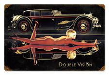 Double Vision Hildebrandt Vintage Metal Sign PINUP Sexy Car Garage Art SIGNED