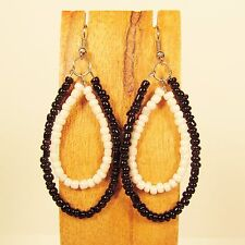 "2"" Black White Double Teardrop Hoop Handmade Seed Bead Dangle Earrings"