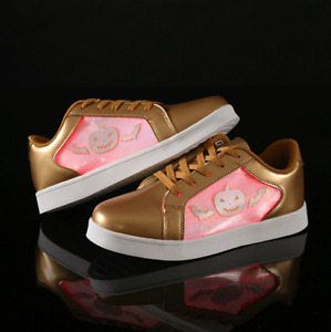 Halloween Light up Shoes Gold Kids Womens Childrens Flashing Shoes UK Brand LED