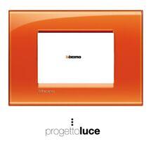 BTICINO LIVING LIGHT placca quadra 3 moduli arancio deep LNA4803OD