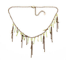 ETHEREAL  GOLD METAL IRIDESCENT EMERALD BEAD FRINGE NECKLACE ADJUSTS 6CM (ZX42)