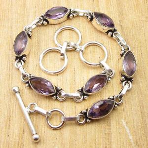 "February Birthstone Amethyst Jewelry LINK Bracelet 8.3"" Silver Plated Jewelry"
