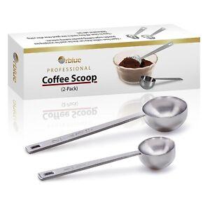 NEW Orblue Coffee Scoop, Stainless Steel, Long Handled Measuring Spoons, 2 Pack