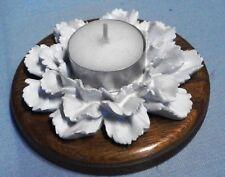 Edler Teelichthalter Blüte,Holz/Polyresin,braun-weiß,Landhaus-Stil,DM 10,5cm,Neu
