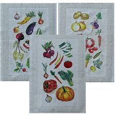 Linen towels set 3-pieces. European quality handmade color print linen