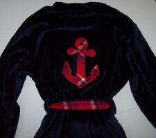 de4eb77a42 Nautica Navy Blue Plush Velour Wrap Robe S m Pockets Red Plaid Anchor Back