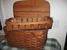 Vintage Wov-N-Wood Bentwood Oak Jerywil Picnic Basket w Insert Tray Shabby Chic