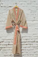 Indian Cotton Long Kimono Hand Block Printed Women's Nightwear Robe Gown Dress