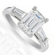 5 carat GIA Certified Ideal Cut Emerald Diamond Engagement 3-Stone Ring with