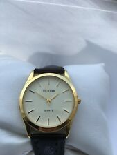 Unistar  Men's Gold Plated  Analogue Quartz Leather Strap Watch