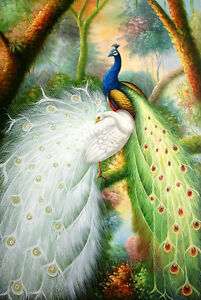 """Pure hand drawn oil painting Two Peacock Oil painting on canvas 24""""x36"""""""